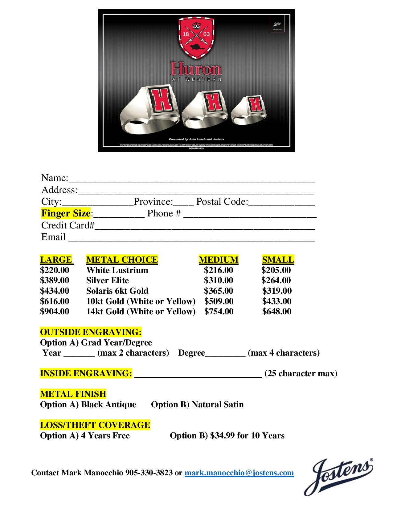 Class Rings Order Form