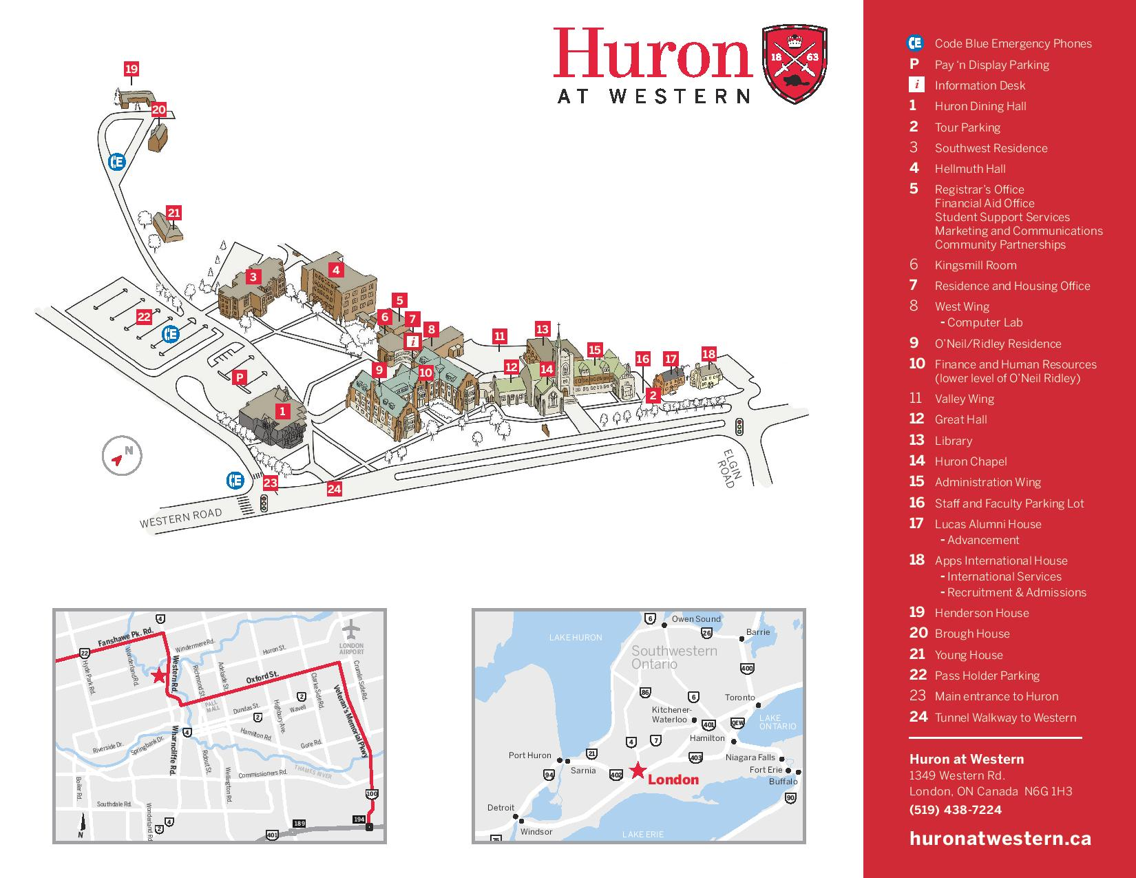 university of western ontario campus map Huron Campus Map Huron University university of western ontario campus map