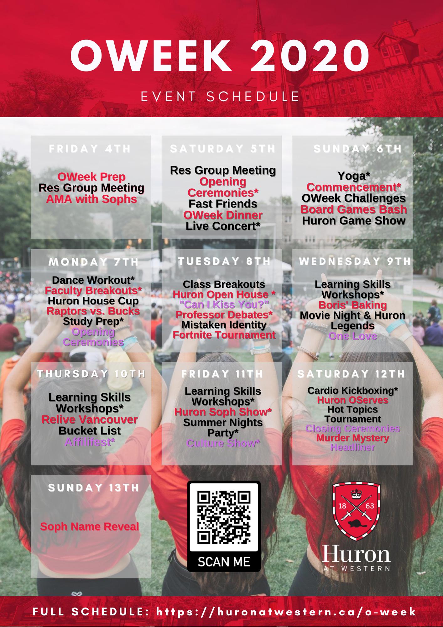 OWeek Schedule Summary
